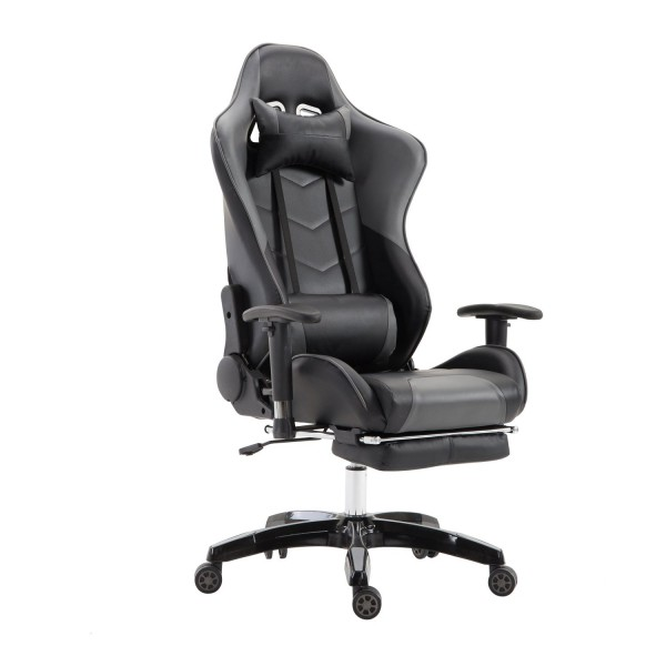 LZQ Racing Sports Seat Gaming Chair Office Chair with Footrests PU Faux Leather Office Swivel Chair Executive Chair Desk Chair with Armrests Rocker Function and Height Adjustable