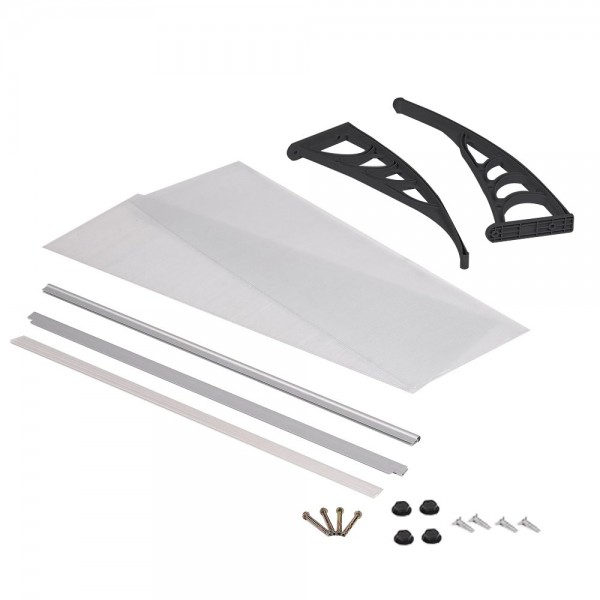 LZQ Awning Door Canopy Roof, Curved Awning Roofing, Polycarbonate Transparent, White House Door Awning, Assorted Sizes and Colours